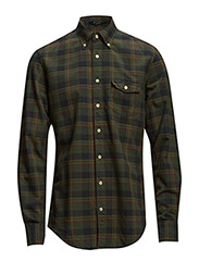 S. MERRICK OXFORD CHECK LS BD - COUNTRY GREEN
