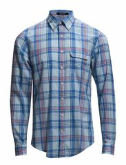L. WILSHIRE MADRAS CHECK LS BD - SEA BLUE