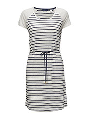 O3. BRETON STRIPE LINEN DRESS - EGGSHELL