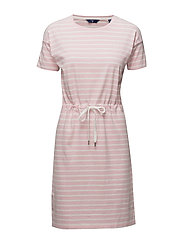 O. DROPPED SHOULDER STRIPED DRESS - CALIFORNIA PINK