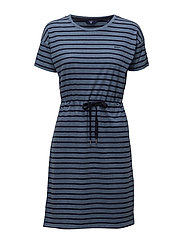 O. DROPPED SHOULDER STRIPED DRESS - HURRICANE BLUE