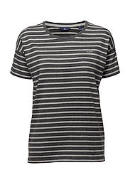 O. DROPPED SHOULDER STRIPED T-SHIRT - ANTRACIT MELANGE