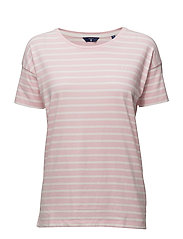 O. DROPPED SHOULDER STRIPED T-SHIRT - CALIFORNIA PINK
