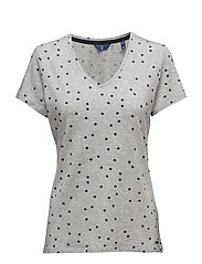 O. DOTTED FLUID V-NECK T-SHIRT - LIGHT GREY MELANGE
