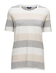 O. MELANGE STRIPED C-NECK T-SHIRT - EGGSHELL
