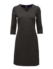 V-NECK JERSEY DRESS - ANTRACIT MELANGE