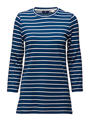 BRETON STRIPE T-SHIRT 3/4 SLEEVE - YALE BLUE
