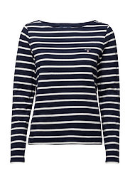 STRIPED BOATNECK JUMPER - EVENING BLUE