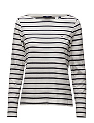 STRIPED BOATNECK JUMPER - EGGSHELL