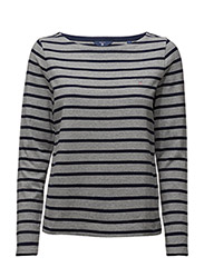 STRIPED BOATNECK JUMPER - GREY MELANGE