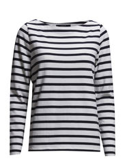 STRIPED BOATNECK JUMPER - NAVY