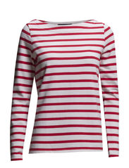 STRIPED BOATNECK JUMPER - RASPBERRY