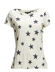STAR PRINTED T-SHIRT - CREAM