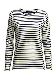 STRIPED VISCOSE T-SHIRT - EGGSHELL
