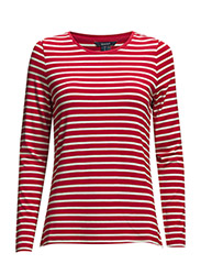 STRIPED VISCOSE T-SHIRT - RED