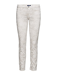 O2. SLIM CROPPED FLORAL JEAN - PUTTY