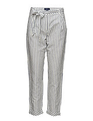 O2. STRIPED LINEN PANTS - EGGSHELL
