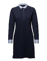 O1. SOLID JERSEY RUGGER DRESS - EVENING BLUE