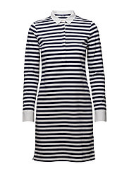 O1. STRIPED HEAVY RUGGER DRESS - WHITE