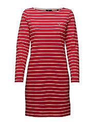 BRETON STRIPE BOATNECK DRESS - BRIGHT RED