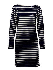 O1. BRETON STRIPE BOATNECK DRESS - EVENING BLUE