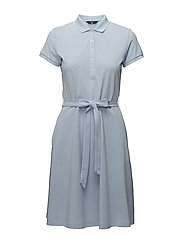 O2. OXFORD PIQUE SS FLARED DRESS - CAPRI BLUE