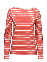 BRETON STRIPE BOATNECK JUMPER - STRONG CORAL