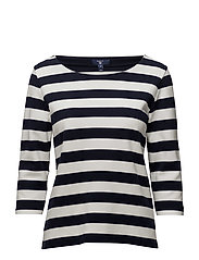 OP2. BARSTRIPE PIQUE 3/4 SLEEVE TOP - EVENING BLUE