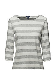 OP2. BARSTRIPE PIQUE 3/4 SLEEVE TOP - LIGHT GREY MELANGE