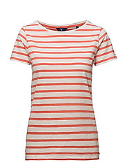 O2. BRETON STRIPE SS T-SHIRT - STRONG CORAL