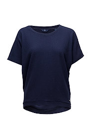O1. SMALL SQUARE PATTERN C-NECK TOP - EVENING BLUE