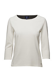 O1. JERSEY STRETCH 3/4 SLEEVE TOP - EGGSHELL