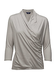 O2. LYOCELL 3/4 SLEEVE WRAPTOP - SILVER GRAY