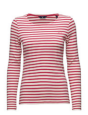 O1. STRIPED 1X1 RIB LS T-SHIRT - ROSE RED