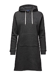 GANT HOODIE DRESS - ANTRACIT MELANGE