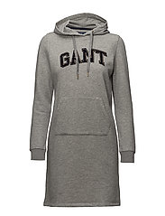 OP1. GANT GOLD CHENILLE HOOD DRESS - GREY MELANGE