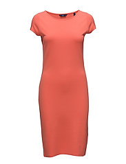 O2. FITTED SS DRESS - STRONG CORAL