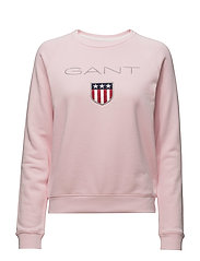 O1. GANT SHIELD LOGO C-NECK SWEAT - CALIFORNIA PINK