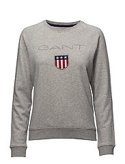 O1. GANT SHIELD LOGO C-NECK SWEAT - LIGHT GREY MELANGE