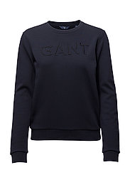 O1. GANT EMBROIDERY C-NECK SWEAT - EVENING BLUE