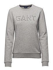 O1. GANT EMBROIDERY C-NECK SWEAT - LIGHT GREY MELANGE