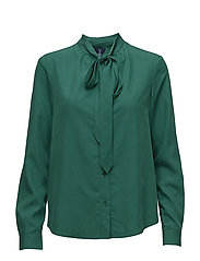 O2. PEACHED BOW BLOUSE - IVY GREEN