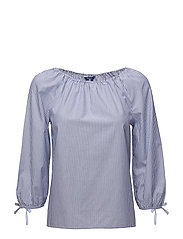 O1. PREPPY STRIPED BLOUSE - YALE BLUE