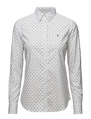 STRETCH OXFORD PRINT DOT SHIRT - WHITE