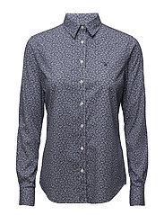 STRETCH BROADCLOTH DOTTY LEAF SHIRT - PERSIAN BLUE