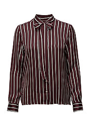 O1. VERTICAL STRIPED BOW BLOUSE - PURPLE WINE