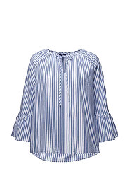 O2. STRIPED RUFFLED SLEEVE BLOUSE - YALE BLUE