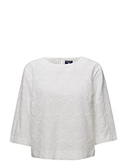 O2. BRODERIE ANGLAISE TOP - WHITE