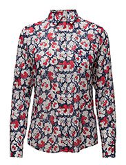 O1. VOILE VIVID FLOWER SHIRT - WHITE