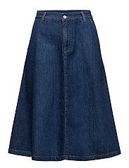 A-LINE DENIM MIDI SKIRT - MID BLUE WORN IN